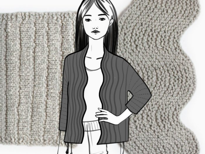 drawing of cardigan overlaid on photos of knitted swatches in grey yarn